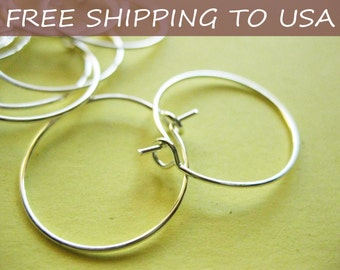 100pcs (50 pairs) Silver Hoop Earrings, 20mm, FREE SHIPPING to USA