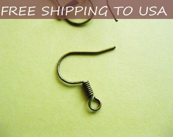 100pcs Earring Hooks/wires Antique Bronze,15mm hole: 3mm, FREE SHIPPING within USA
