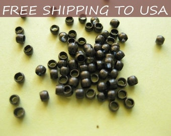 5000pcs Antique Bronze Crimp Beads, 2mm in diameter, FREE SHIPPING to USA