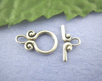 25 sets Antique Silver Toggle Clasps - Cucurbit, 12x20mm, FREE SHIPPING within USA
