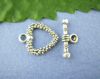 50 Antique Silver Toggle Clasps - Heart, 16mm x 19mm, DIY Jewelry Making Supplies and Findings