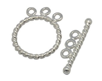 5 sets Silver Round Toggle Clasps for 3 strands, 17x22mm, FREE SHIPPING to USA