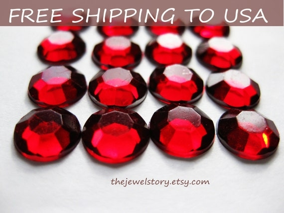 """On Sale, 400 pcs  Acrylic Faceted Rhinestones flat back - Red 6mm - """"""""Free Shipping to USA"""""""""""