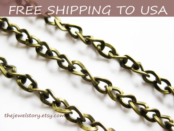 """10 ft spool Antique Bronze Curb/ Side Twist chain 5x4mm, 0.9mm thick, """"""""Free Shipping to USA"""""""""""