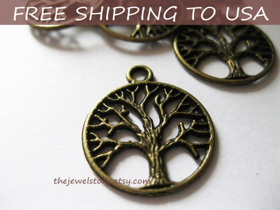 40 Pcs Antique Bronze Tree Pendant, 24x20x2mm thick, FREE SHIPPING within USA