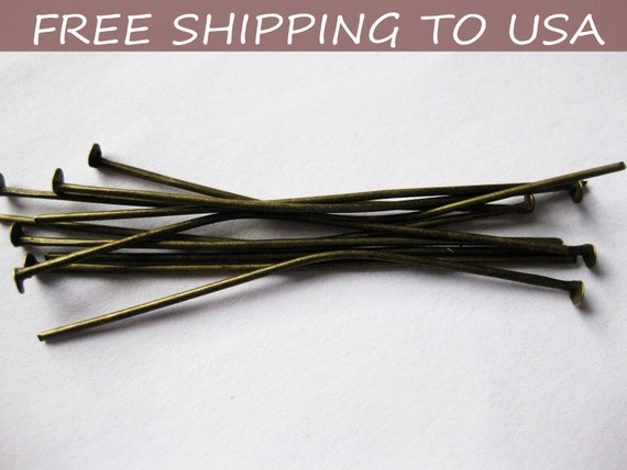100pcs Antique Bronze Flat Headpins,  2 Inch long, 21G thick,''''FREE SHIPPING to USA''''