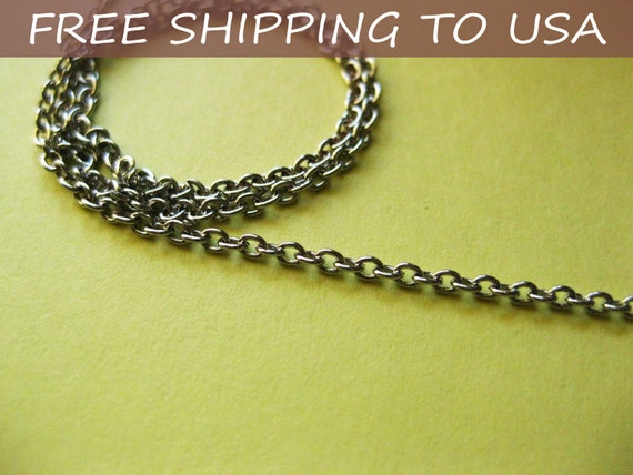 """100 ft spool Antique silver Round Cable chain Link:2x2x0.5mm, """"""""Free Shipping to USA"""""""""""