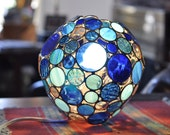 Round Bubble Lamp, circles of blue and clear stained glass