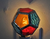 Geometric Stained Glass Nightlight, Red Amber Blue Dodecahedron