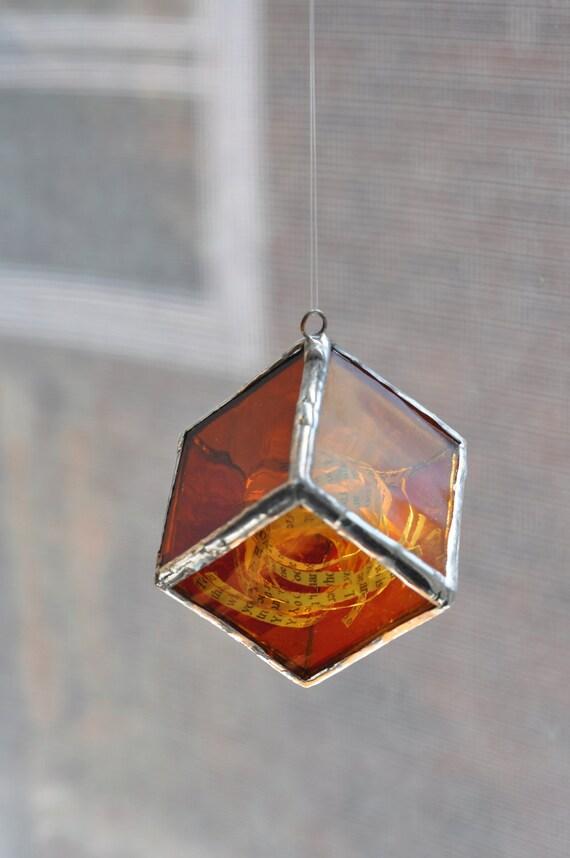 Cube No.9, Jane Austen, Pride and Prejudice Platonic Solid Glass Sculpture