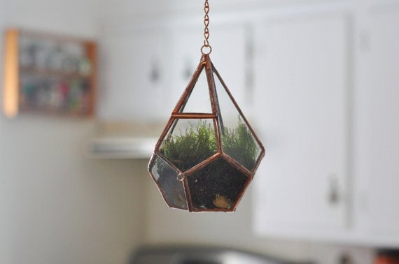 Hanging Teardrop Glass Terrarium with Door -- moss terrarium -- glass terrarium -- stained glass -- terrarium supplies -- eco friendly