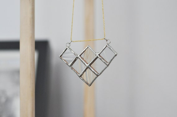 Stained Glass Geometric Necklace - clear glass squares - textured clear