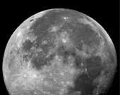 Full Moon, Fall Harvest, Telescope Space Photograph, Black and White
