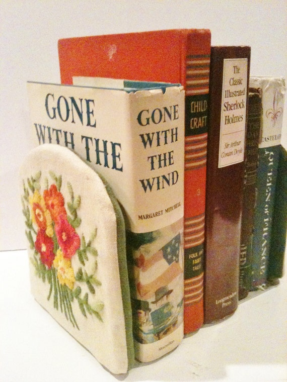 1960s Handmade Embroidered Bookend Covers