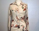 1970s Vintage Ivory Magnolia Blouse Womens S