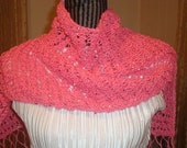 Handknit Pink Scarf.Open work.Beaded.Fringed.