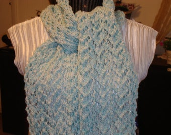 Knit Lace Scarf.SALE.Aqua/ Green.Spring/Summer/Fall.Sparkle.Wide.Cotton.Acrylic. Mom.Green  Mint.Gift.Ready to ship.