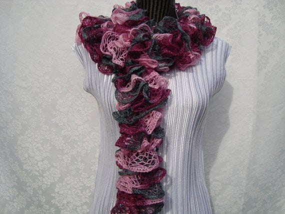 Scarf Knit  Pink Multicolor.Ruffled.Sale.Light. Sparkle.Lace.Spring/Summer/Fall.Bridesmaid.Gift.