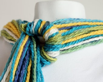 OOAK Roller Coaster Ring Scarf with Multicolored Yellow, Blue, Turquoise, White and Green Spring Yarn for Women