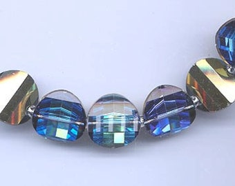 Six rarest-of-the-rare vintage Swarovski crystal pagoda beads: Art. 5107R - 14 mm - bermuda blue