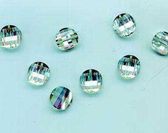 Eight rarest-of-the-rare vintage Swarovski crystal pagoda beads: Art. 5107R - 10 mm - vitrail light