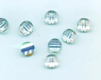 Twelve rarest-of-the-rare vintage Swarovski crystal pagoda beads: Art. 5107L - 10 mm - vitrail light