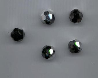 Five rare vintage Swarovski crystals - Art. 5000 - 14 mm - jet comet argent light