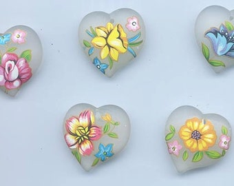 5 beautiful vintage Japanese frosted decal heart-shaped lucite pendants