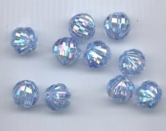 10 awesome vintage West German lucite beads - 14 mm light sapphire AB - double faceting