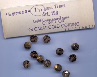 12 vintage Swarovski beads - Art. 199 - 11 mm - light colorado topaz comet OR