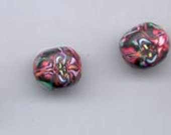 Six incredibly detailed and beautiful natasha beads made of polymer clay - 11 x 10 mm rounded ovals