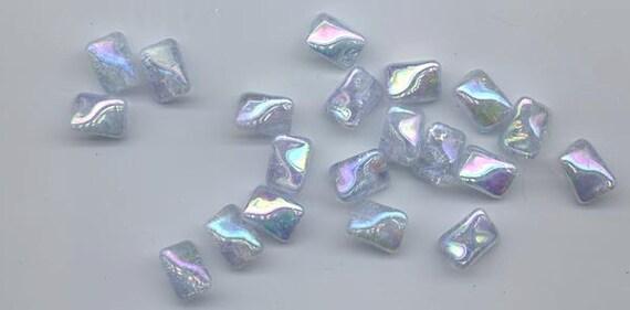 Twenty pieces vintage German crackle glass beads - light ice blue with AB flash