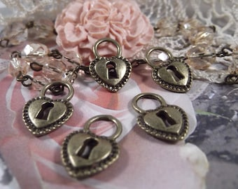 Antique Bronze - Heart Lock Charm - 5 Pieces --- CHM - 012