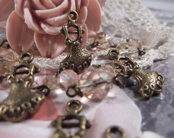 Antique Bronze - Sweet Ballet Tutu Charms --- 5 Pieces --- CHM - 047
