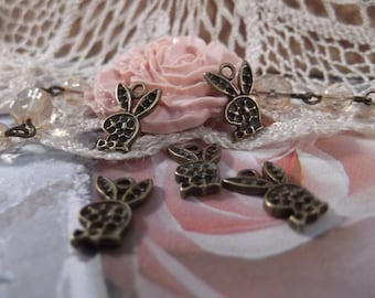 Antique Bronze - Cute Little Bunny Charms --- 5 Pieces --- CHM - 050