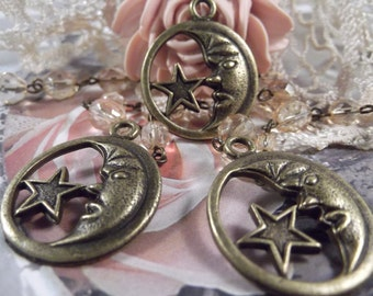 Antique Bronze Celestial Star & Moon Charms --- 3 Pieces --- CHM - 061