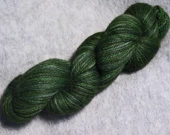 Hand Dyed Alpaca Yarn in Forest Green - Sport Wt 250 yds