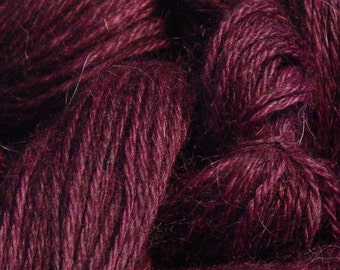 Hand Dyed Alpaca Yarn in Plum - Finger Wt - 250 yds