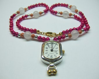 1 Knotted Bead Necklace With Watch Pendant