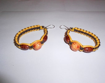 1- Pair Hand Knotted Cotton Hoop Earrings