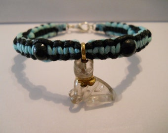 1- Hand Knotted Cotton Cord Glass Cat Bracelet 7 Inches Long
