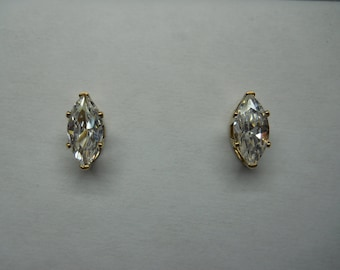 1- Pair 14k Gold Filled Post Earrings With Marqui Cubic Zirconia