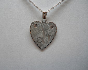 1- Sterling Silver Initial L Heart Pendant With Rope Chain