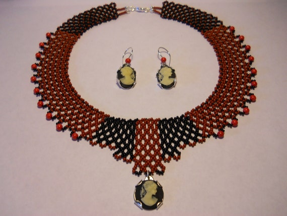 1- Handmade Seed Bead Chocker With Sterling Silver Cameo Pendant And Earrings