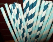 50 Retro Looking Mixed Navy Blue and Baby Blue White Striped Paper Drinking Straws