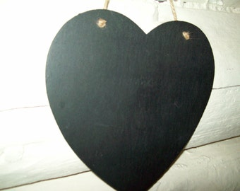 Hanging Large Hearts Chalkboard Sign  8 1/2 Set of 2 Wedding New Name Save Date