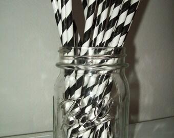 Retro Looking Black & White Striped Paper Drinking Straws  25