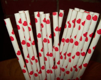 25  Red Hearts & White Paper Drinking Straws  Wedding Valentines Birthday