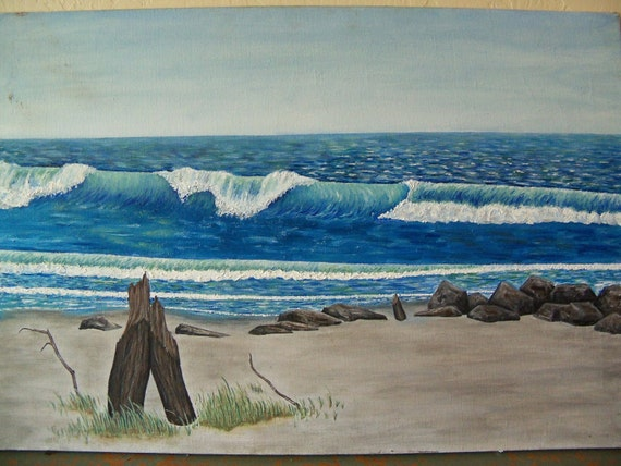 Vintage Oil Painting Of Ocean Waves Beach And Driftwood