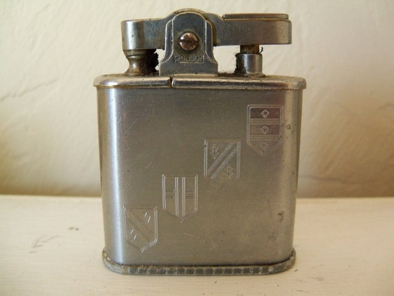 Vintage Lighter Ronson Lighter Whirlwind top striker 4 flags silver metal 60s Collectible Cigarette Lighter  Gift Idea for Men